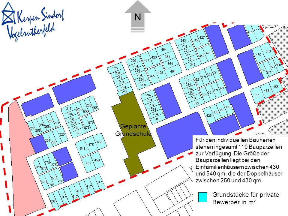 Grundstücke für private Bewerber in m² Für den individuellen Bauherren stehen ingesamt 110 Bauparzellen zur Verfügung. Die Größe der Bauparzellen lieg