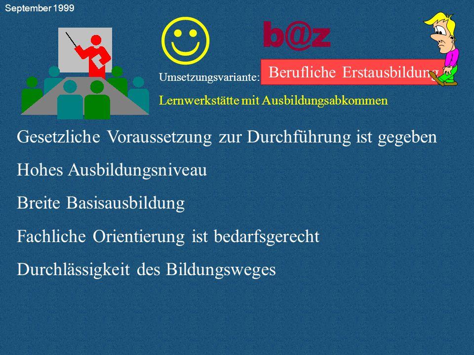 b@z Berufliche Erstausbildung Umsetzungsvariante: Lernwerkstätte mit Ausbildungsabkommen         9.