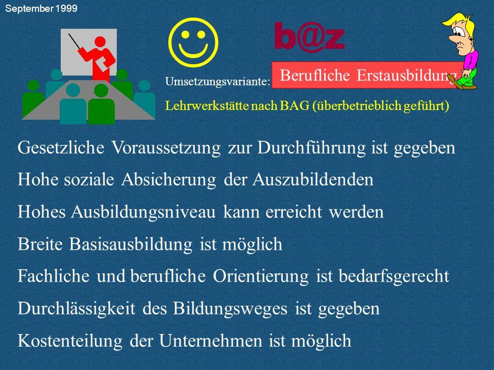 b@z Berufliche Erstausbildung Umsetzungsvariante: Lehrwerkstätte nach BAG (überbetrieblich geführt)         9.