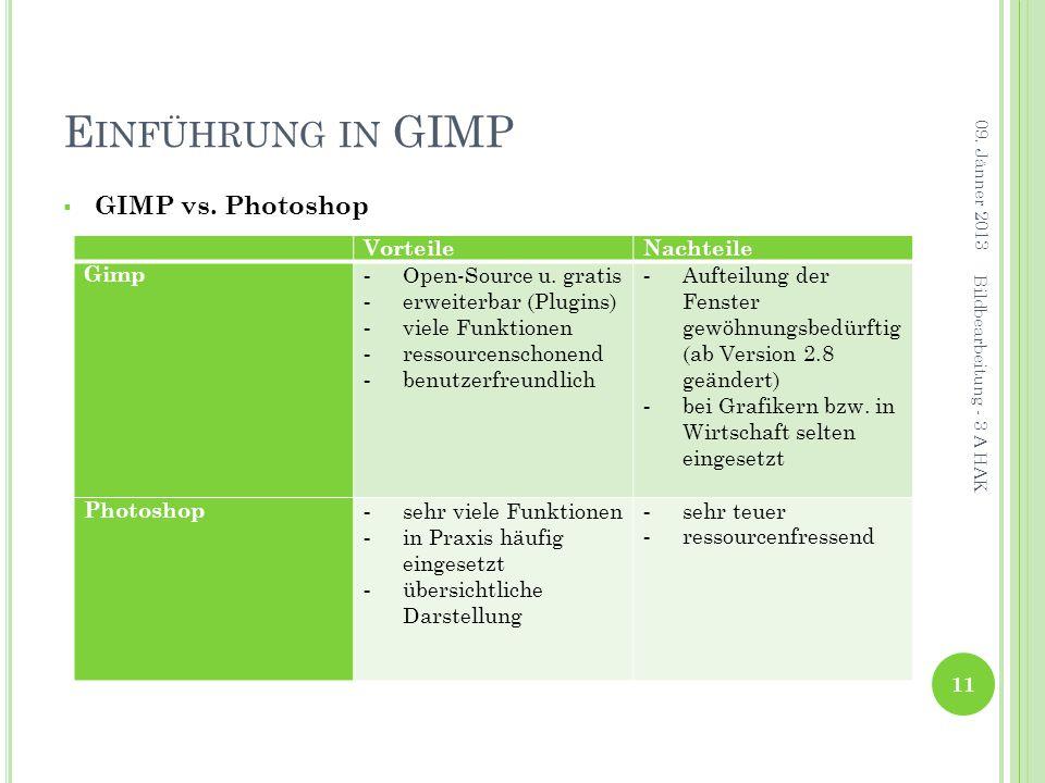 E INFÜHRUNG IN GIMP  GIMP vs.Photoshop 09.