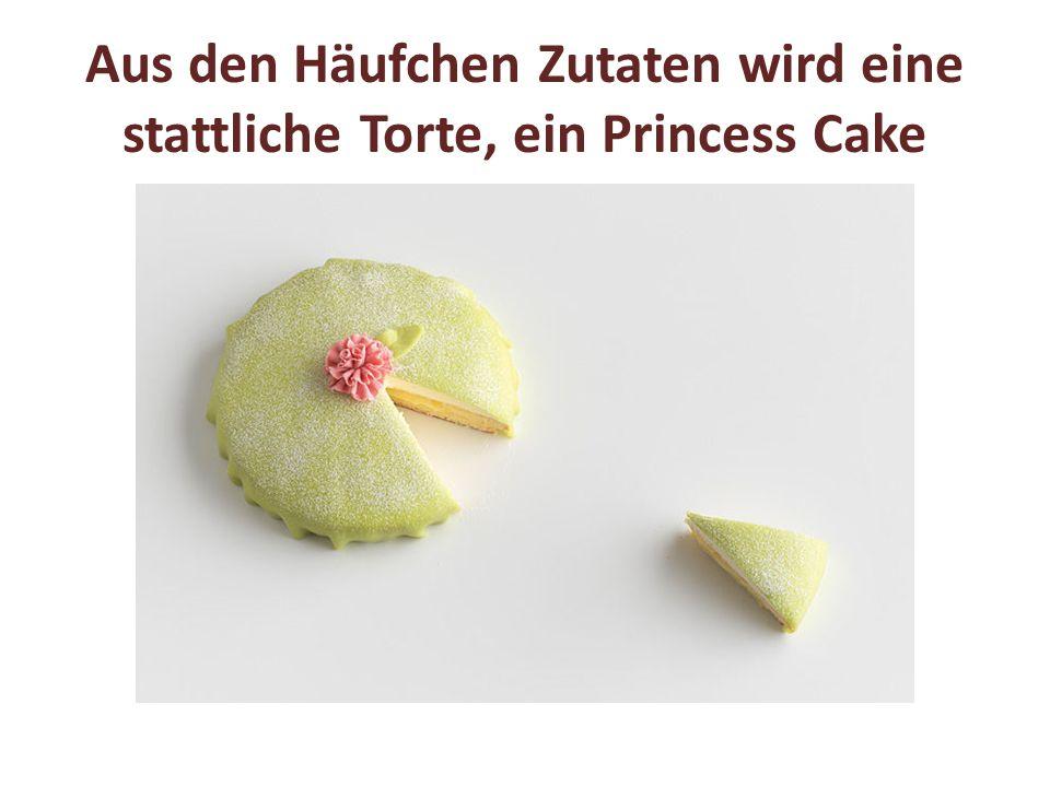 Aus den Häufchen Zutaten wird eine stattliche Torte, ein Princess Cake