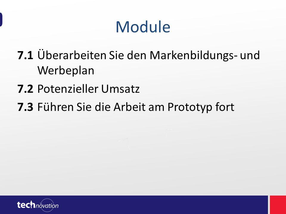 Module 7.1Überarbeiten Sie den Markenbildungs- und Werbeplan 7.2Potenzieller Umsatz 7.3Führen Sie die Arbeit am Prototyp fort