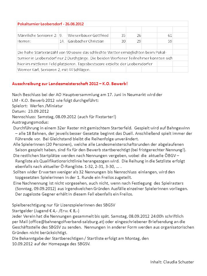 Ausschreibung zur Landesmeisterschaft 2012 – K.O. Bewerb.