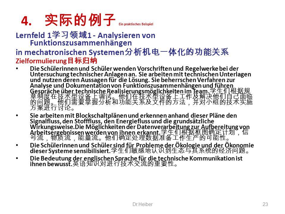 Lernfeld 1 学习领域 1 - Analysieren von Funktionszusammenhängen in mechatronischen Systemen 分析机电一体化的功能关系 Zielformulierung 目标归纳 Die Schülerinnen und Schüle