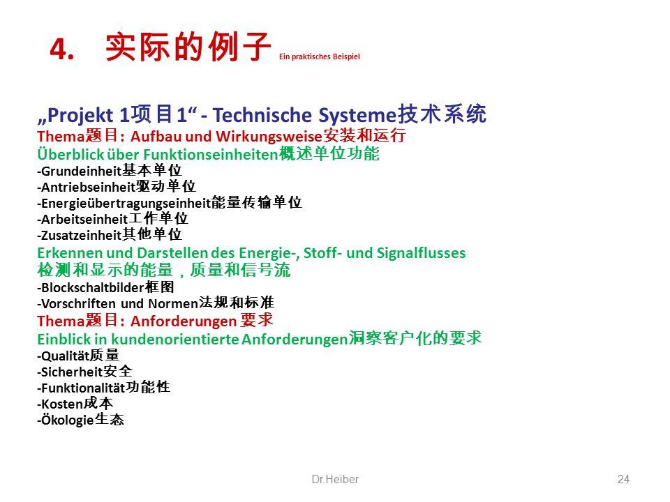 """""""Projekt 1 项目 1"""" - Technische Systeme 技术系统 Thema 题目 : Aufbau und Wirkungsweise 安装和运行 Überblick über Funktionseinheiten 概述单位功能 -Grundeinheit 基本单位 -Antr"""