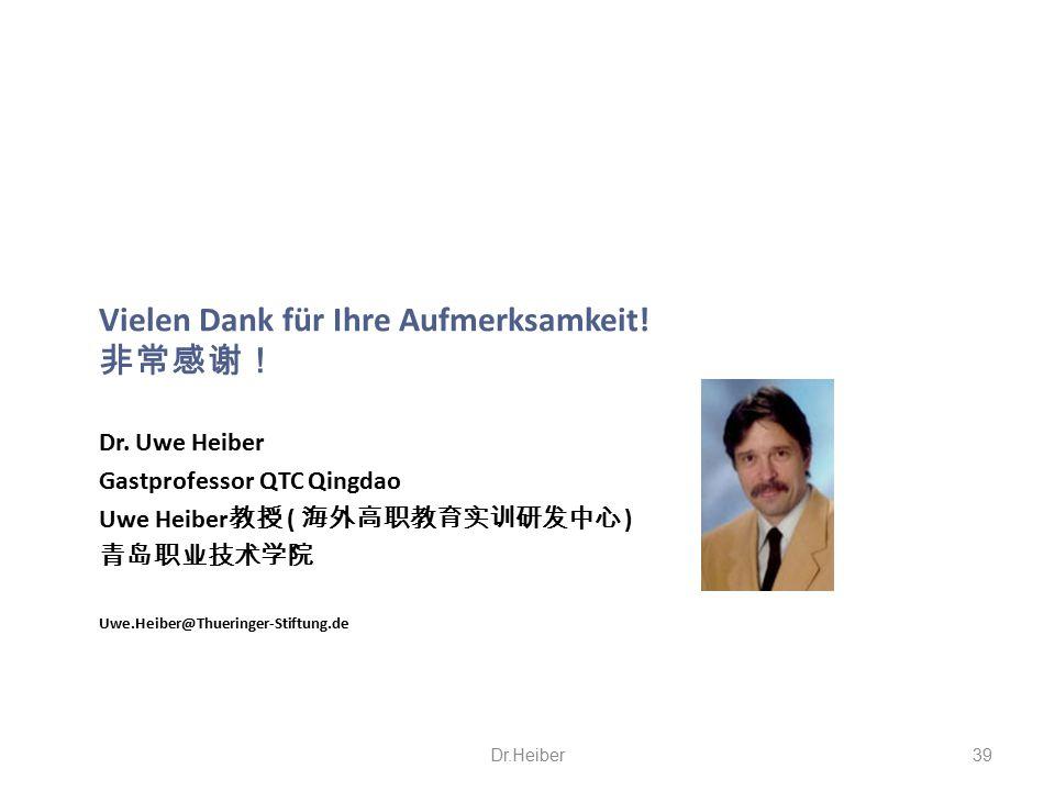 Vielen Dank für Ihre Aufmerksamkeit! 非常感谢! Dr. Uwe Heiber Gastprofessor QTC Qingdao Uwe Heiber 教授 ( 海外高职教育实训研发中心 ) 青岛职业技术学院 Uwe.Heiber@Thueringer-Stif