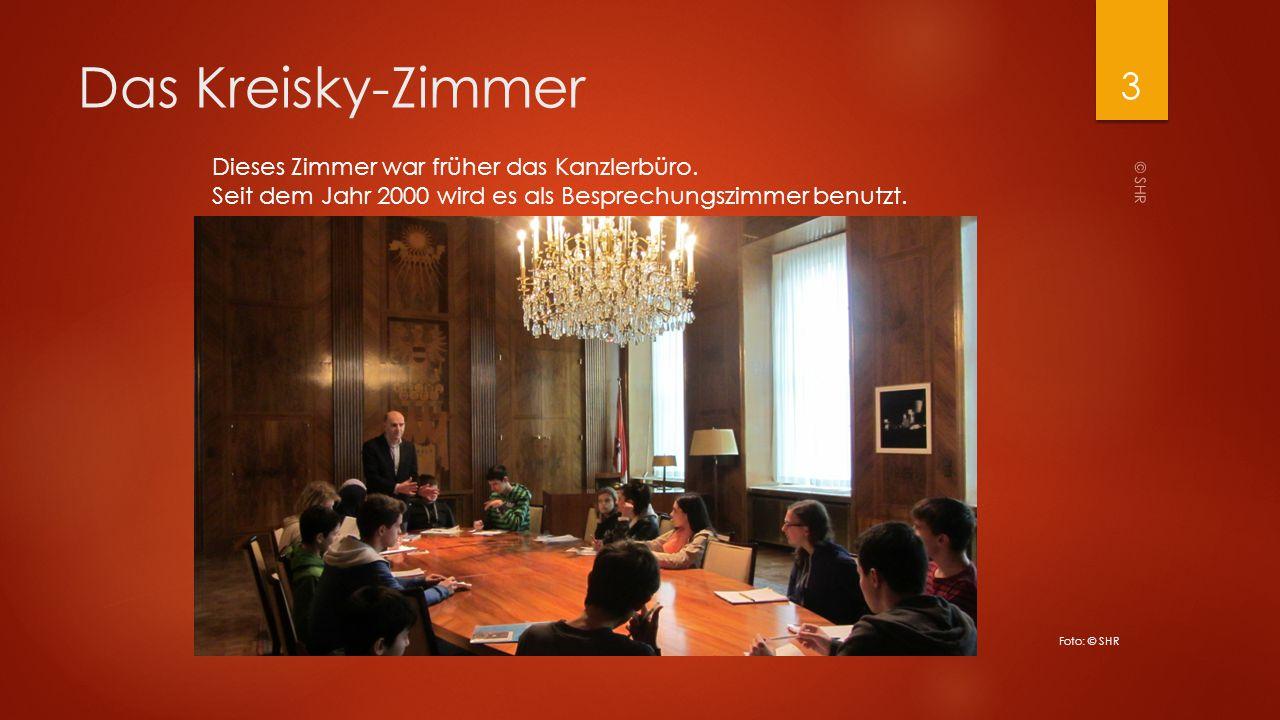 Das Kreisky-Zimmer Dieses Zimmer war früher das Kanzlerbüro. Seit dem Jahr 2000 wird es als Besprechungszimmer benutzt. © SHR 3 Foto: © SHR