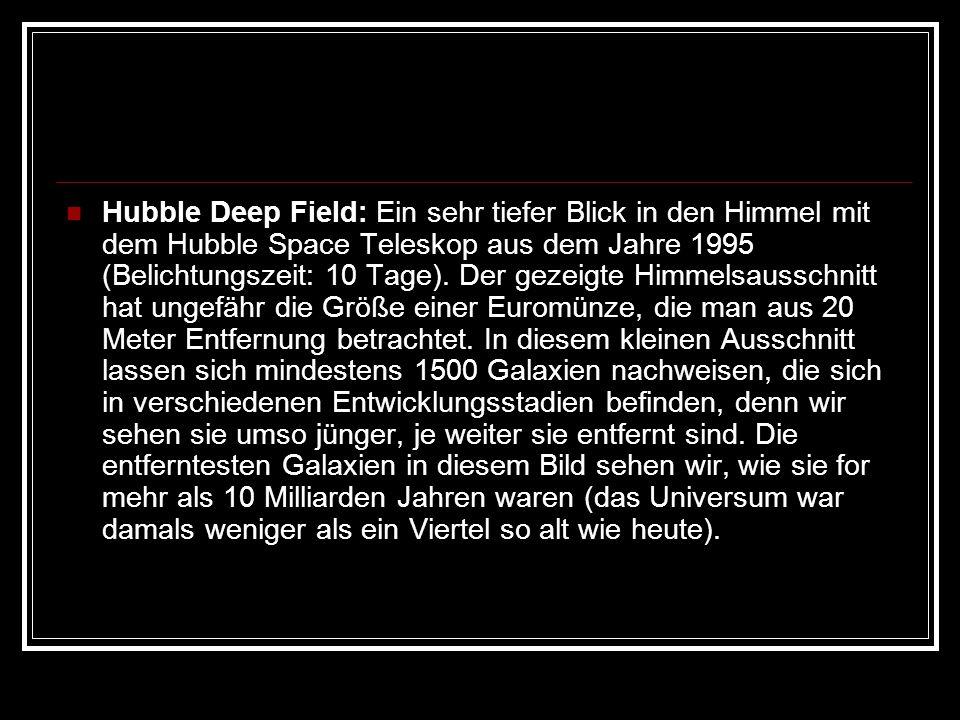 Hubble Deep Field: Ein sehr tiefer Blick in den Himmel mit dem Hubble Space Teleskop aus dem Jahre 1995 (Belichtungszeit: 10 Tage). Der gezeigte Himme