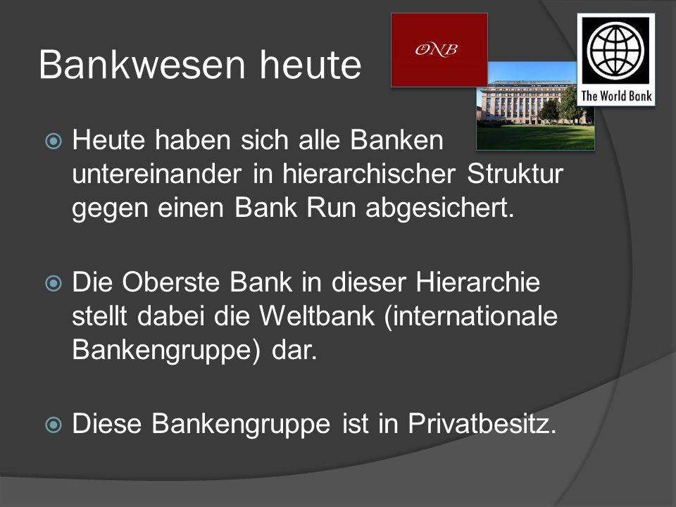 Bankwesen heute  Heute haben sich alle Banken untereinander in hierarchischer Struktur gegen einen Bank Run abgesichert.  Die Oberste Bank in dieser