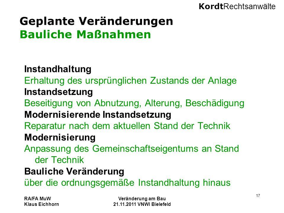 Kordt Rechtsanwälte RA/FA MuW Klaus Eichhorn Veränderung am Bau 21.11.2011 VNWI Bielefeld 17 Geplante Veränderungen Bauliche Maßnahmen Instandhaltung