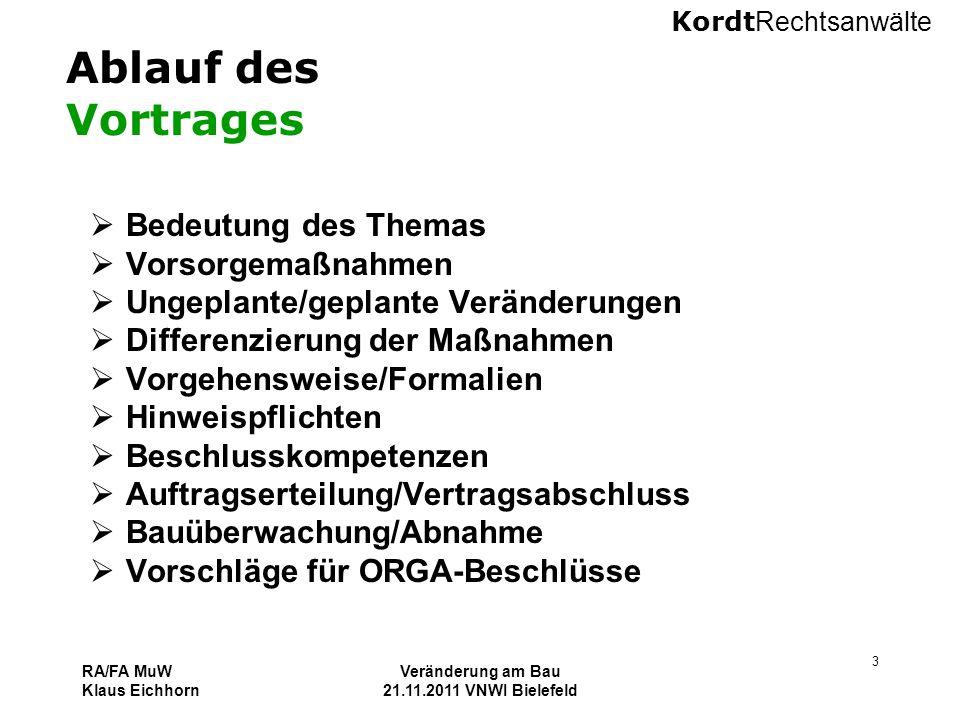 Kordt Rechtsanwälte RA/FA MuW Klaus Eichhorn Veränderung am Bau 21.11.2011 VNWI Bielefeld 3 Ablauf des Vortrages  Bedeutung des Themas  Vorsorgemaßn