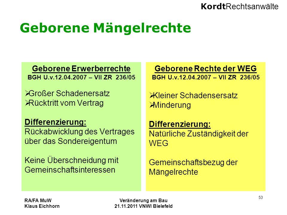 Kordt Rechtsanwälte RA/FA MuW Klaus Eichhorn Veränderung am Bau 21.11.2011 VNWI Bielefeld 53 Geborene Mängelrechte Geborene Erwerberrechte BGH U.v.12.