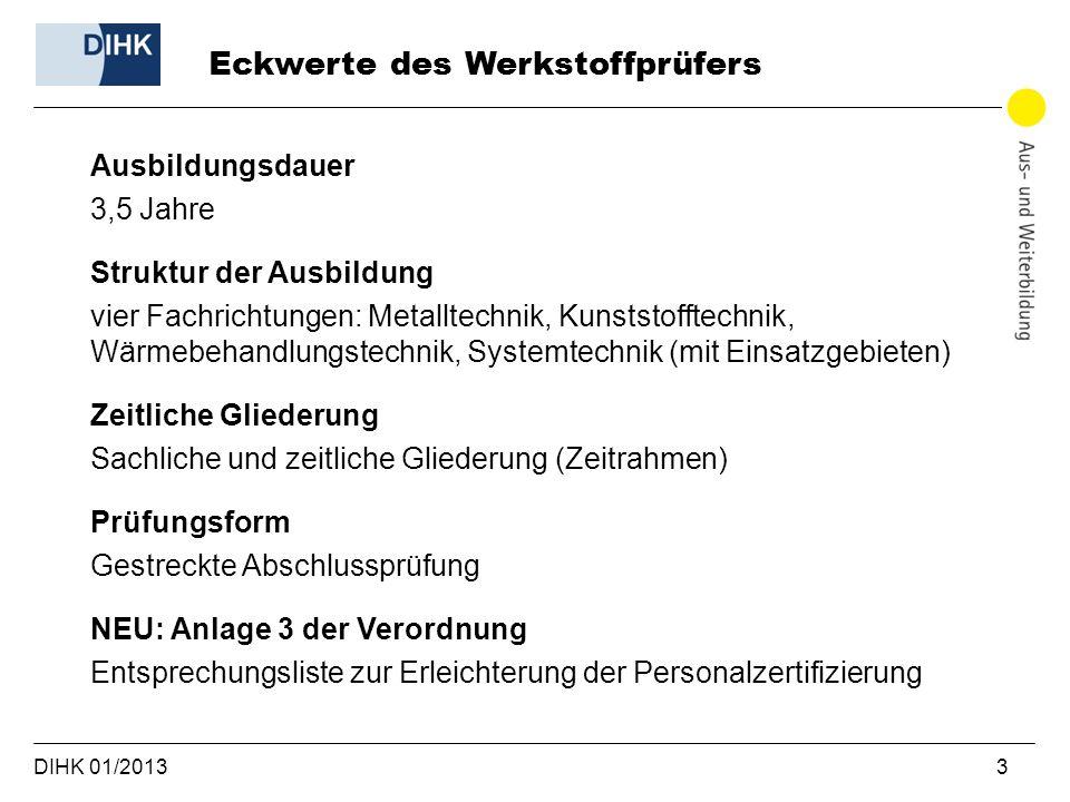 DIHK 01/2013 3 Ausbildungsdauer 3,5 Jahre Struktur der Ausbildung vier Fachrichtungen: Metalltechnik, Kunststofftechnik, Wärmebehandlungstechnik, Syst