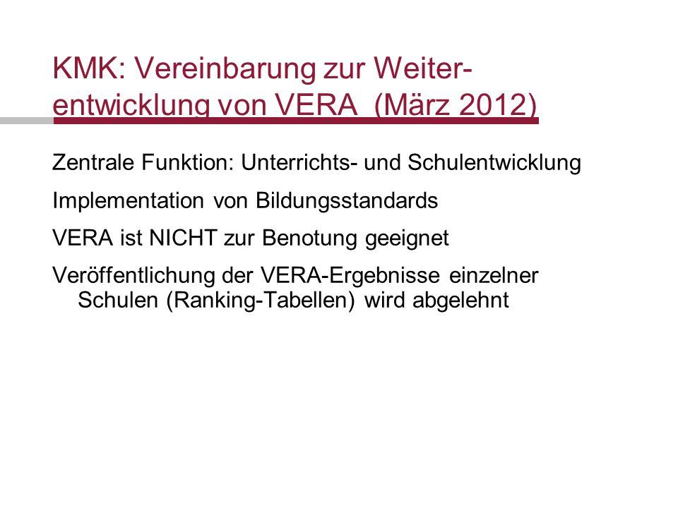 Folie 5 Förderung der Selbständigkeit von Schülerinnen und Schülern Datum 19.10.2011 Gehen die VERA-Arbeiten in die Schulnote (Leistungsbewertung) mit ein.