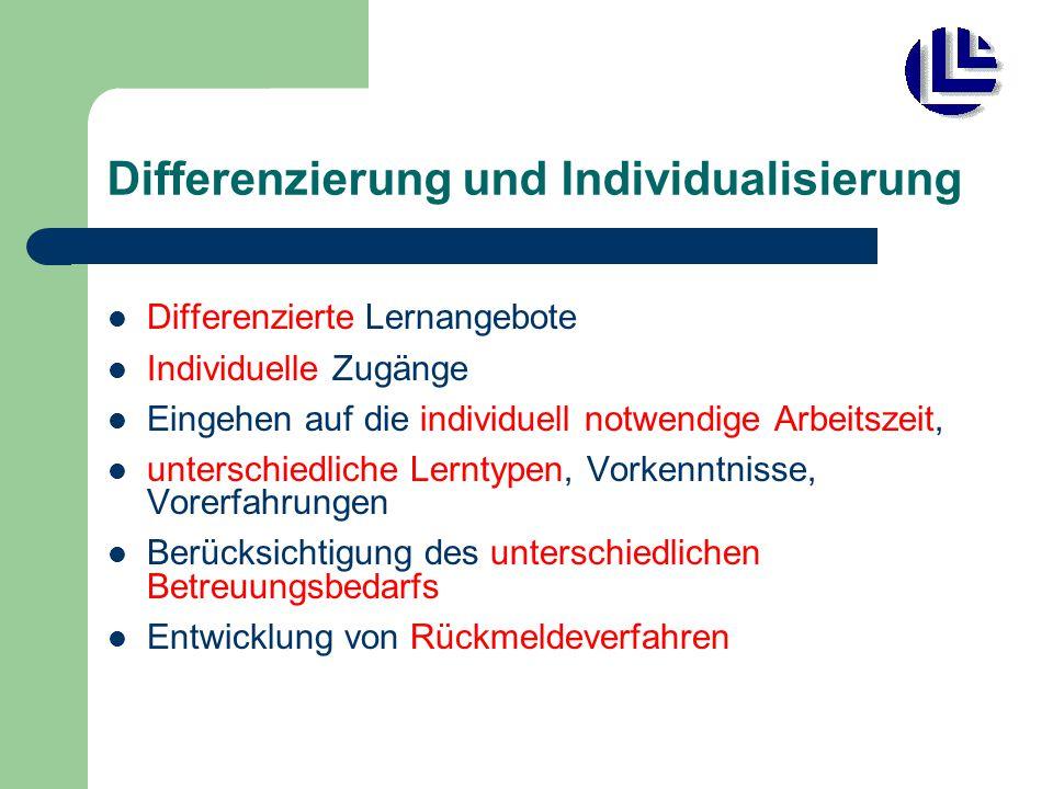 Differenzierung und Individualisierung Differenzierte Lernangebote Individuelle Zugänge Eingehen auf die individuell notwendige Arbeitszeit, unterschiedliche Lerntypen, Vorkenntnisse, Vorerfahrungen Berücksichtigung des unterschiedlichen Betreuungsbedarfs Entwicklung von Rückmeldeverfahren