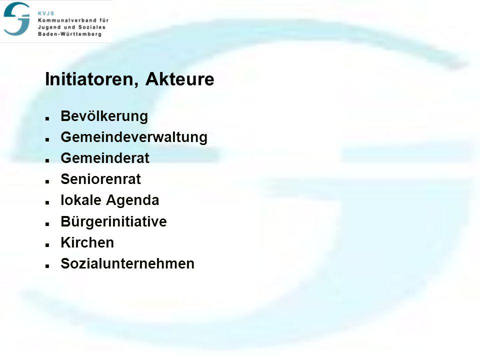 Initiatoren, Akteure Bevölkerung Gemeindeverwaltung Gemeinderat Seniorenrat lokale Agenda Bürgerinitiative Kirchen Sozialunternehmen