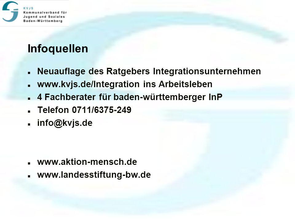 Infoquellen Neuauflage des Ratgebers Integrationsunternehmen www.kvjs.de/Integration ins Arbeitsleben 4 Fachberater für baden-württemberger InP Telefon 0711/6375-249 info@kvjs.de www.aktion-mensch.de www.landesstiftung-bw.de