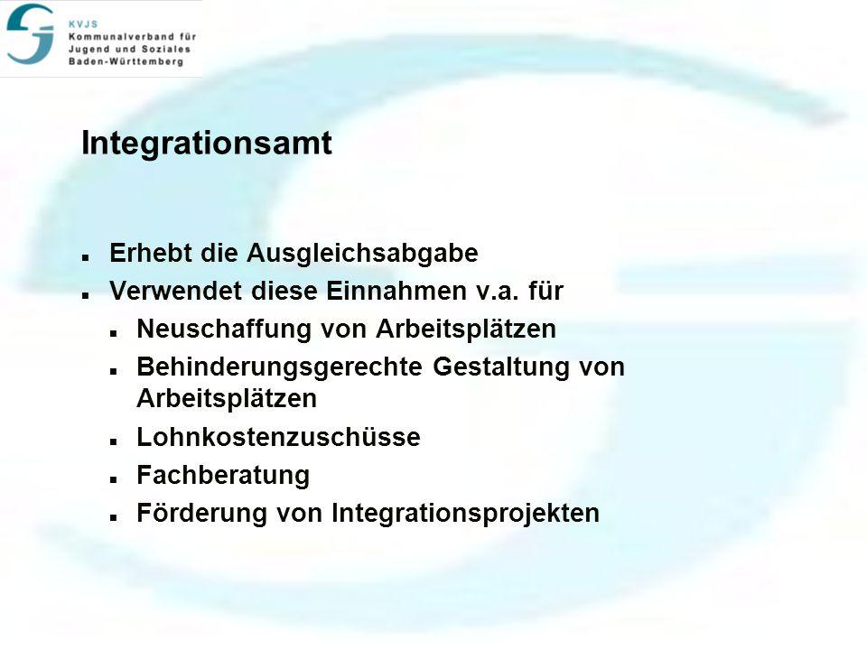 Integrationsamt Erhebt die Ausgleichsabgabe Verwendet diese Einnahmen v.a.