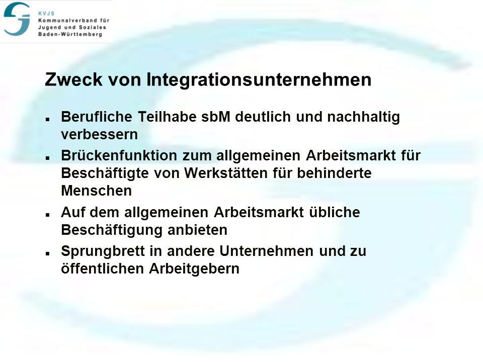 Zweck von Integrationsunternehmen Berufliche Teilhabe sbM deutlich und nachhaltig verbessern Brückenfunktion zum allgemeinen Arbeitsmarkt für Beschäftigte von Werkstätten für behinderte Menschen Auf dem allgemeinen Arbeitsmarkt übliche Beschäftigung anbieten Sprungbrett in andere Unternehmen und zu öffentlichen Arbeitgebern