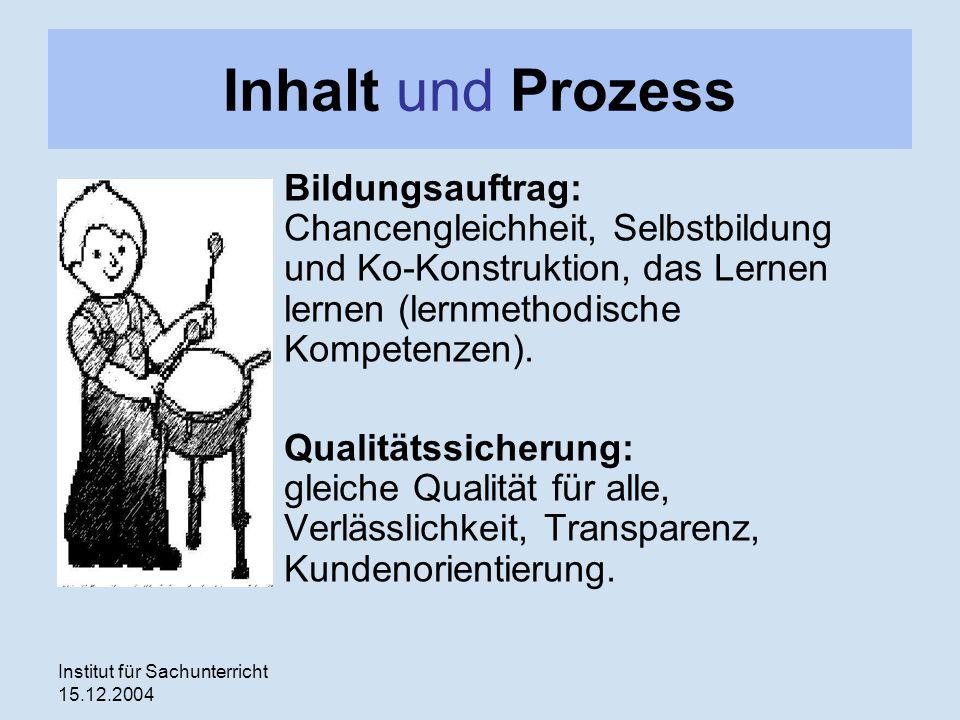 Institut für Sachunterricht 15.12.2004 Inhalt und Prozess Bildungsauftrag: Chancengleichheit, Selbstbildung und Ko-Konstruktion, das Lernen lernen (lernmethodische Kompetenzen).