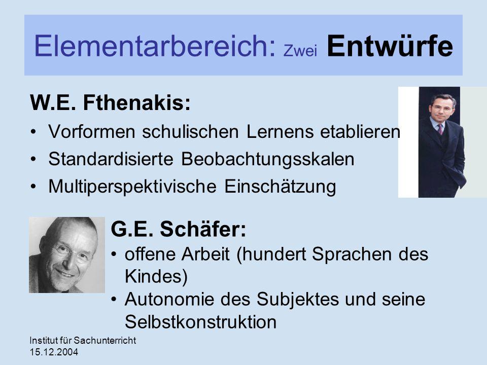 Institut für Sachunterricht 15.12.2004 Elementarbereich: Zwei Entwürfe W.E. Fthenakis: Vorformen schulischen Lernens etablieren Standardisierte Beobac