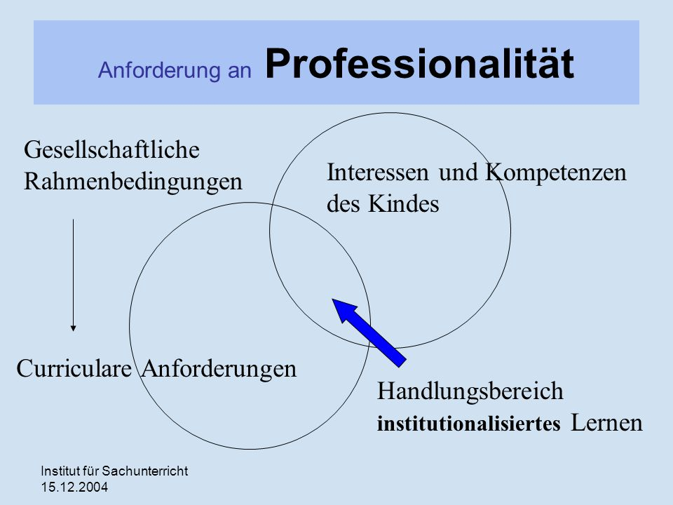 Institut für Sachunterricht 15.12.2004 Anforderung an Professionalität Curriculare Anforderungen Interessen und Kompetenzen des Kindes Handlungsbereic