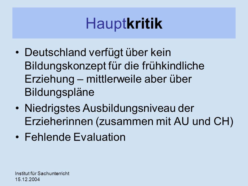 Institut für Sachunterricht 15.12.2004 Hauptkritik Deutschland verfügt über kein Bildungskonzept für die frühkindliche Erziehung – mittlerweile aber über Bildungspläne Niedrigstes Ausbildungsniveau der Erzieherinnen (zusammen mit AU und CH) Fehlende Evaluation