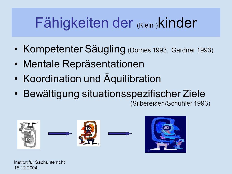 Institut für Sachunterricht 15.12.2004 Fähigkeiten der (Klein-) kinder Kompetenter Säugling (Dornes 1993; Gardner 1993) Mentale Repräsentationen Koord