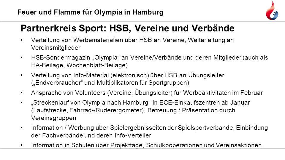 Feuer und Flamme für Olympia in Hamburg Partnerkreis Sport: HSB, Vereine und Verbände Verteilung von Werbematerialien über HSB an Vereine, Weiterleitu