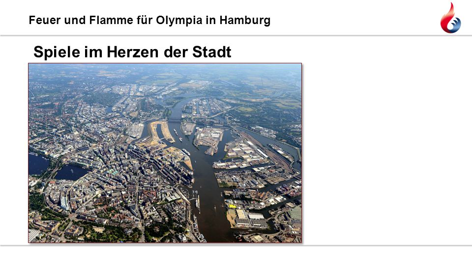 Feuer und Flamme für Olympia in Hamburg ●Spiele im Herzen der Stadt ●Nachhaltigkeit und Stadtentwicklung: Kleiner Grasbrook Das Bewerbungskonzept: