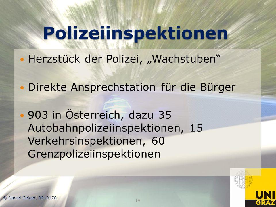 """Polizeiinspektionen Herzstück der Polizei, """"Wachstuben"""" Direkte Ansprechstation für die Bürger 903 in Österreich, dazu 35 Autobahnpolizeiinspektionen,"""
