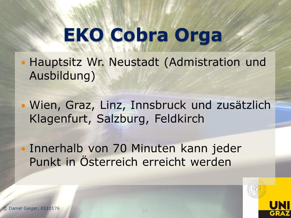 EKO Cobra Orga Hauptsitz Wr. Neustadt (Admistration und Ausbildung) Wien, Graz, Linz, Innsbruck und zusätzlich Klagenfurt, Salzburg, Feldkirch Innerha
