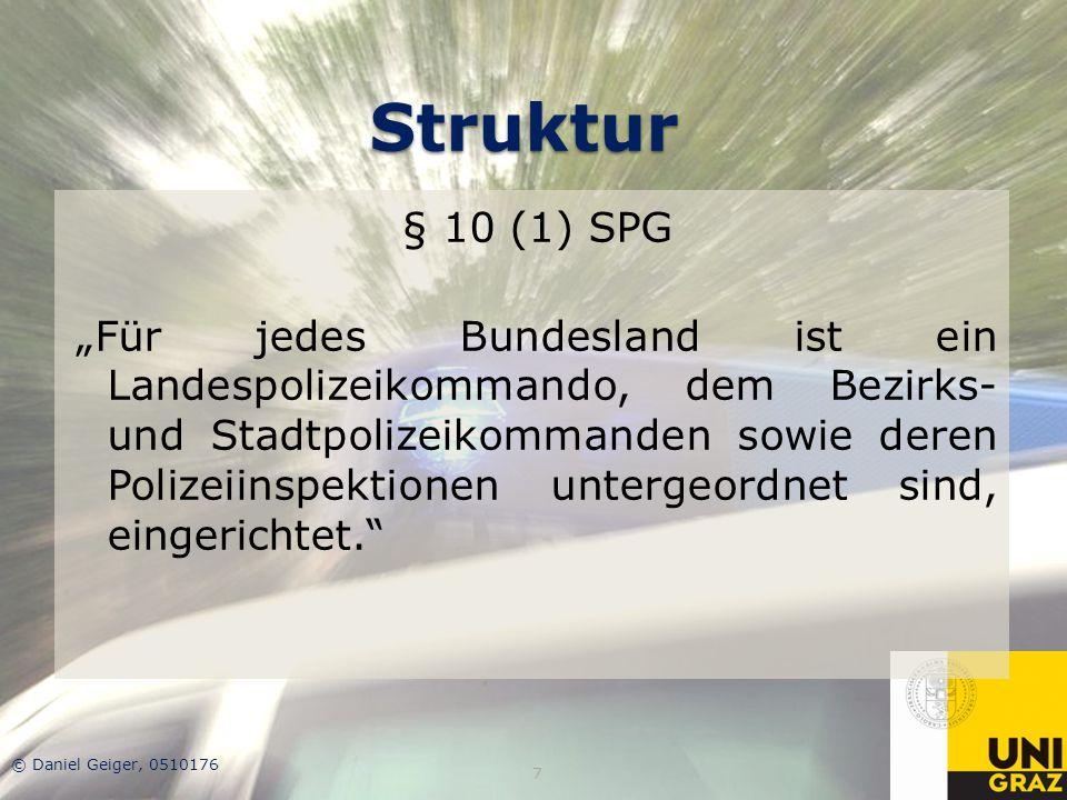 """Struktur § 10 (1) SPG """"Für jedes Bundesland ist ein Landespolizeikommando, dem Bezirks- und Stadtpolizeikommanden sowie deren Polizeiinspektionen unte"""