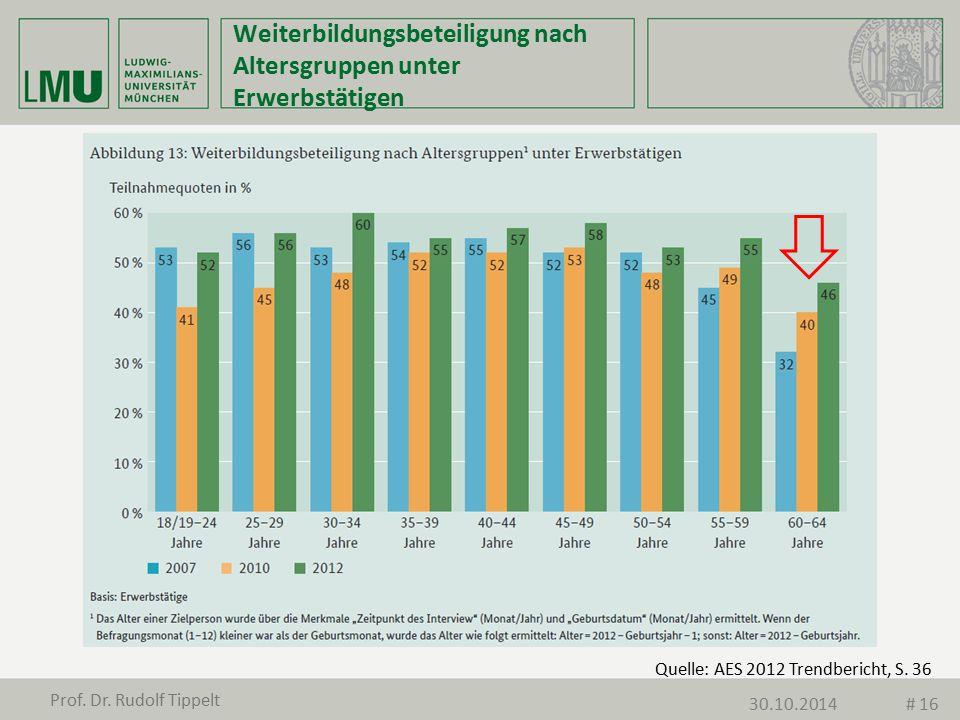 Quelle: AES 2012 Trendbericht, S. 36 Weiterbildungsbeteiligung nach Altersgruppen unter Erwerbstätigen Prof. Dr. Rudolf Tippelt 30.10.2014# 16