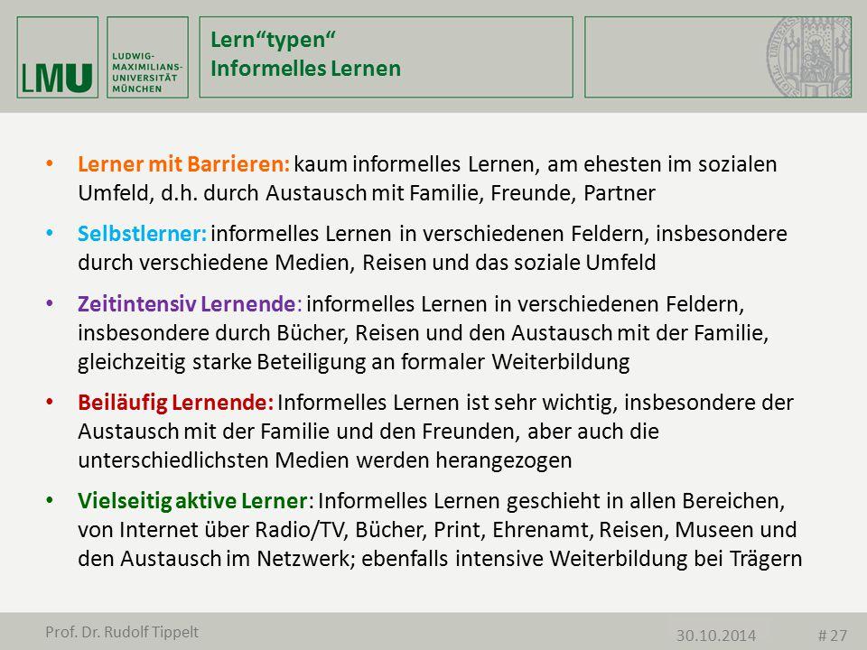 """Lern""""typen"""" Informelles Lernen 11.11.2013 Lerner mit Barrieren: kaum informelles Lernen, am ehesten im sozialen Umfeld, d.h. durch Austausch mit Famil"""
