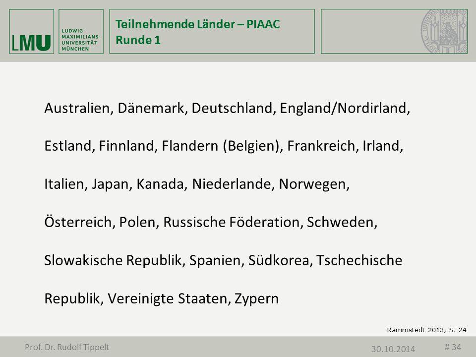 Teilnehmende Länder – PIAAC Runde 1 Australien, Dänemark, Deutschland, England/Nordirland, Estland, Finnland, Flandern (Belgien), Frankreich, Irland,