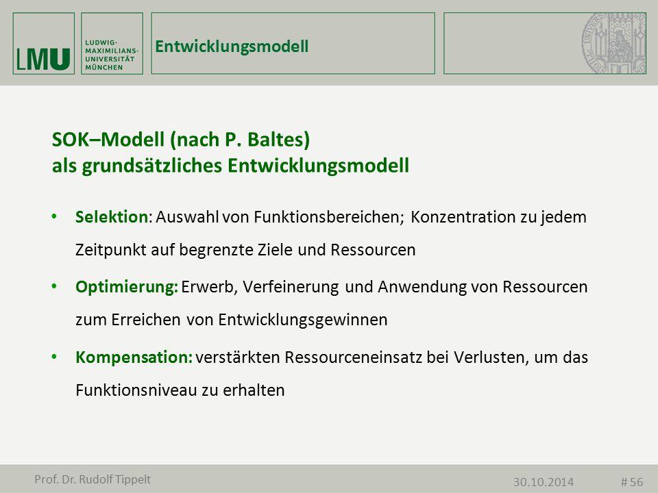 SOK–Modell (nach P. Baltes) als grundsätzliches Entwicklungsmodell Selektion: Auswahl von Funktionsbereichen; Konzentration zu jedem Zeitpunkt auf beg