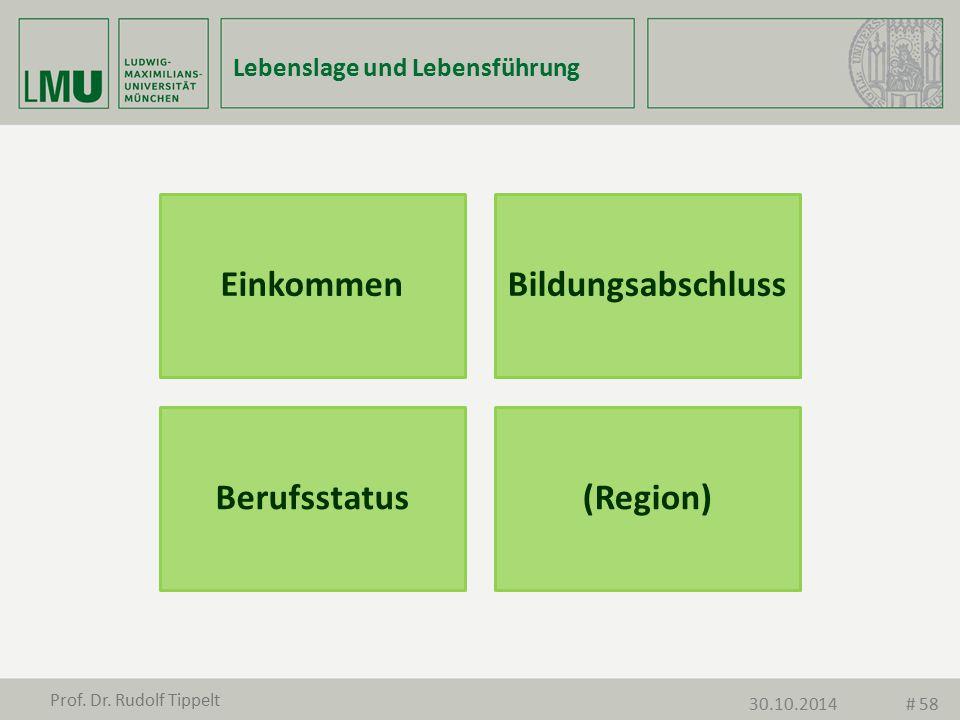 Lebenslage und Lebensführung EinkommenBildungsabschluss Berufsstatus(Region) Prof. Dr. Rudolf Tippelt 30.10.2014# 58