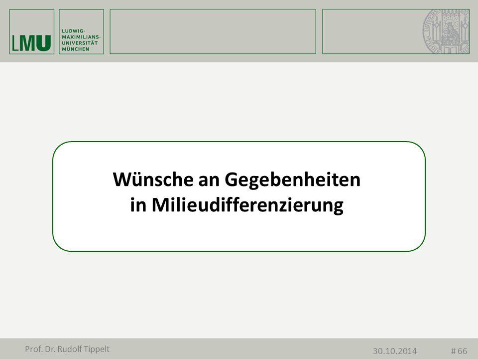 Wünsche an Gegebenheiten in Milieudifferenzierung Prof. Dr. Rudolf Tippelt 30.10.2014# 66