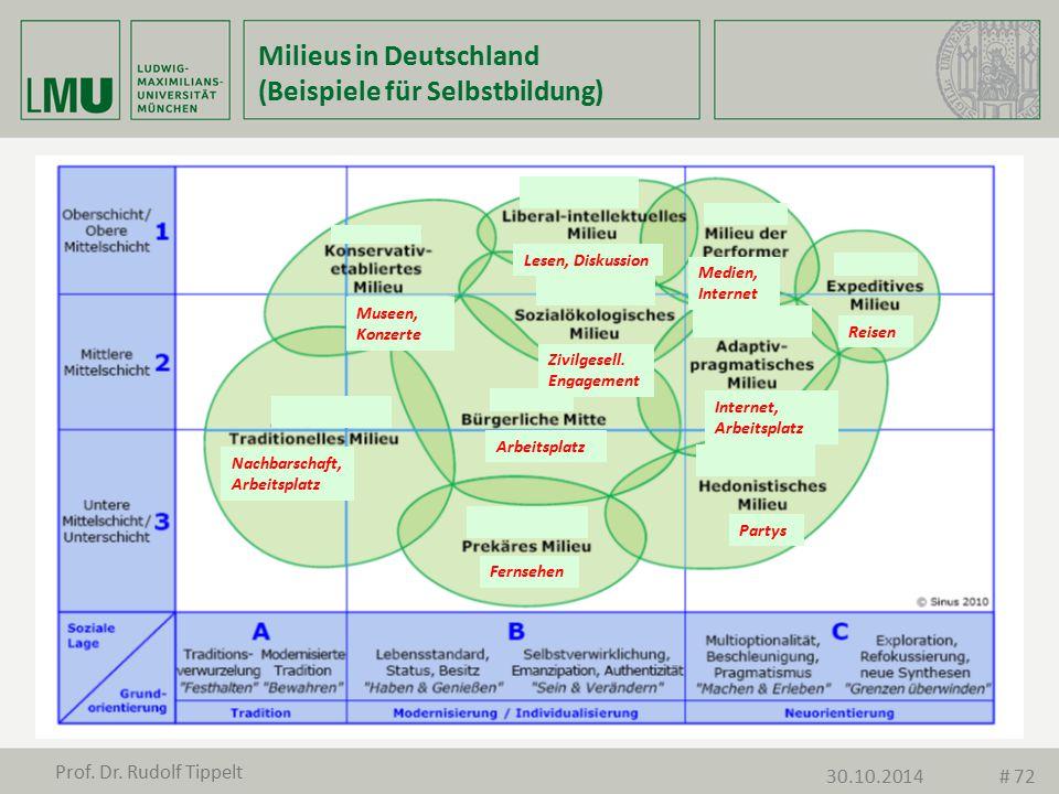 Milieus in Deutschland (Beispiele für Selbstbildung) Museen, Konzerte Nachbarschaft, Arbeitsplatz Fernsehen Partys Internet, Arbeitsplatz Arbeitsplatz