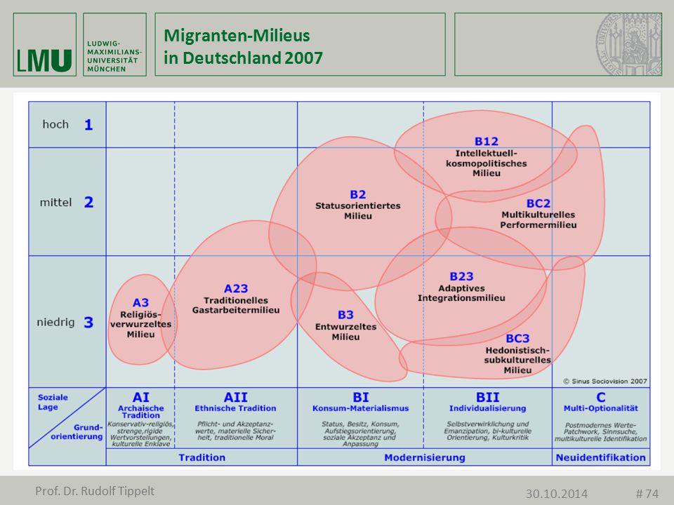 Migranten-Milieus in Deutschland 2007 Prof. Dr. Rudolf Tippelt 30.10.2014# 74