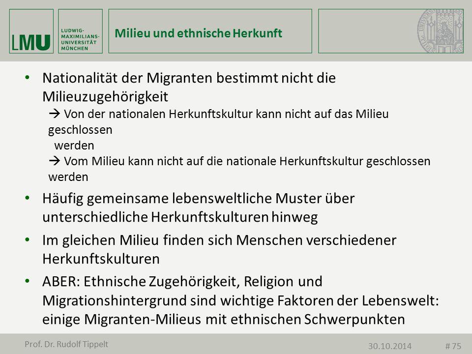 Milieu und ethnische Herkunft Nationalität der Migranten bestimmt nicht die Milieuzugehörigkeit  Von der nationalen Herkunftskultur kann nicht auf da