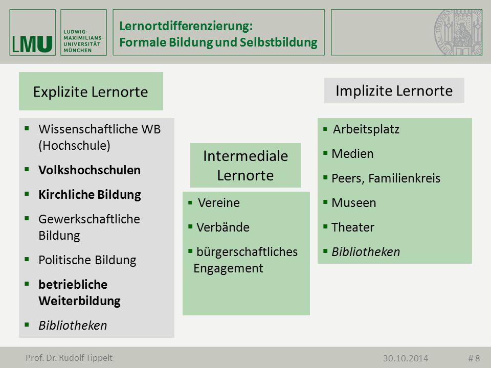 Explizite Lernorte Implizite Lernorte Intermediale Lernorte  Wissenschaftliche WB (Hochschule)  Volkshochschulen  Kirchliche Bildung  Gewerkschaft