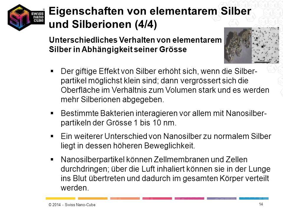 © 2014 - Swiss Nano-Cube 14  Der giftige Effekt von Silber erhöht sich, wenn die Silber- partikel möglichst klein sind; dann vergrössert sich die Obe