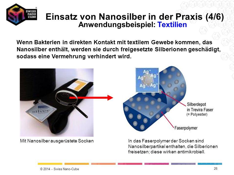 © 2014 - Swiss Nano-Cube 26 Wenn Bakterien in direkten Kontakt mit textilem Gewebe kommen, das Nanosilber enthält, werden sie durch freigesetzte Silbe