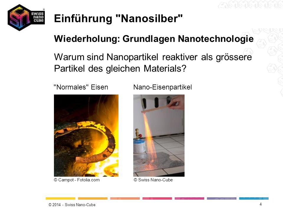© 2014 - Swiss Nano-Cube 4 Wiederholung: Grundlagen Nanotechnologie Warum sind Nanopartikel reaktiver als grössere Partikel des gleichen Materials? ©