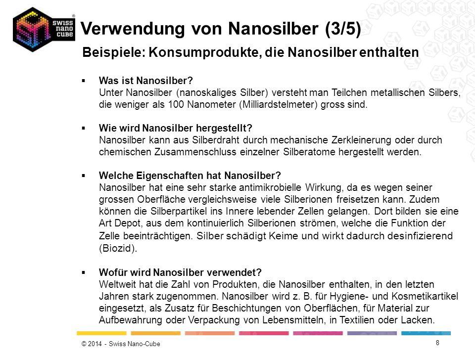 © 2014 - Swiss Nano-Cube 8 Beispiele: Konsumprodukte, die Nanosilber enthalten Verwendung von Nanosilber (3/5)  Was ist Nanosilber? Unter Nanosilber