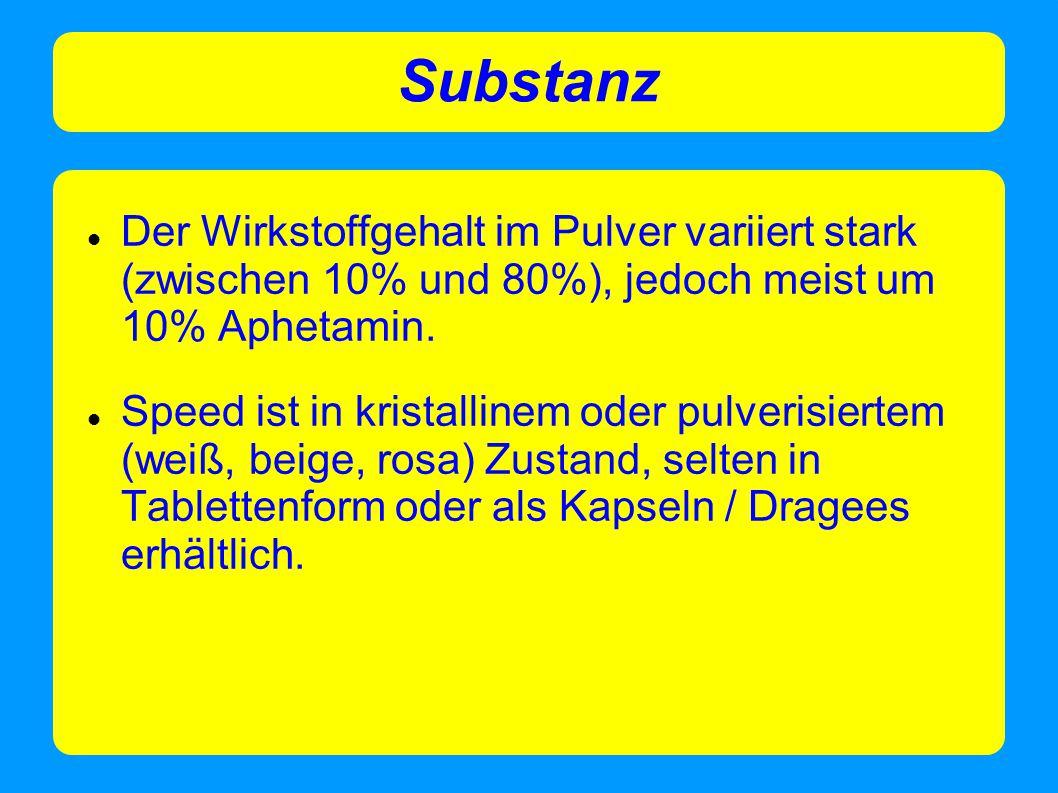 Substanz Der Wirkstoffgehalt im Pulver variiert stark (zwischen 10% und 80%), jedoch meist um 10% Aphetamin. Speed ist in kristallinem oder pulverisie