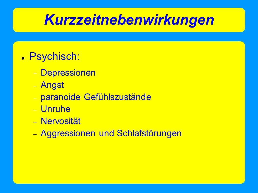 Kurzzeitnebenwirkungen Psychisch:  Depressionen  Angst  paranoide Gefühlszustände  Unruhe  Nervosität  Aggressionen und Schlafstörungen