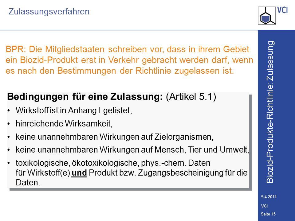 Biozid-Produkte-Richtlinie: Zulassung Seite 16 5.4.2011 VCI Zulassungsverfahren Nationales Verfahren: Abschnitt IIa des ChemG 1.Zulassung/Registrierung 2.Gegenseitige Anerkennung Übergangsregelung in § 28 Abs.